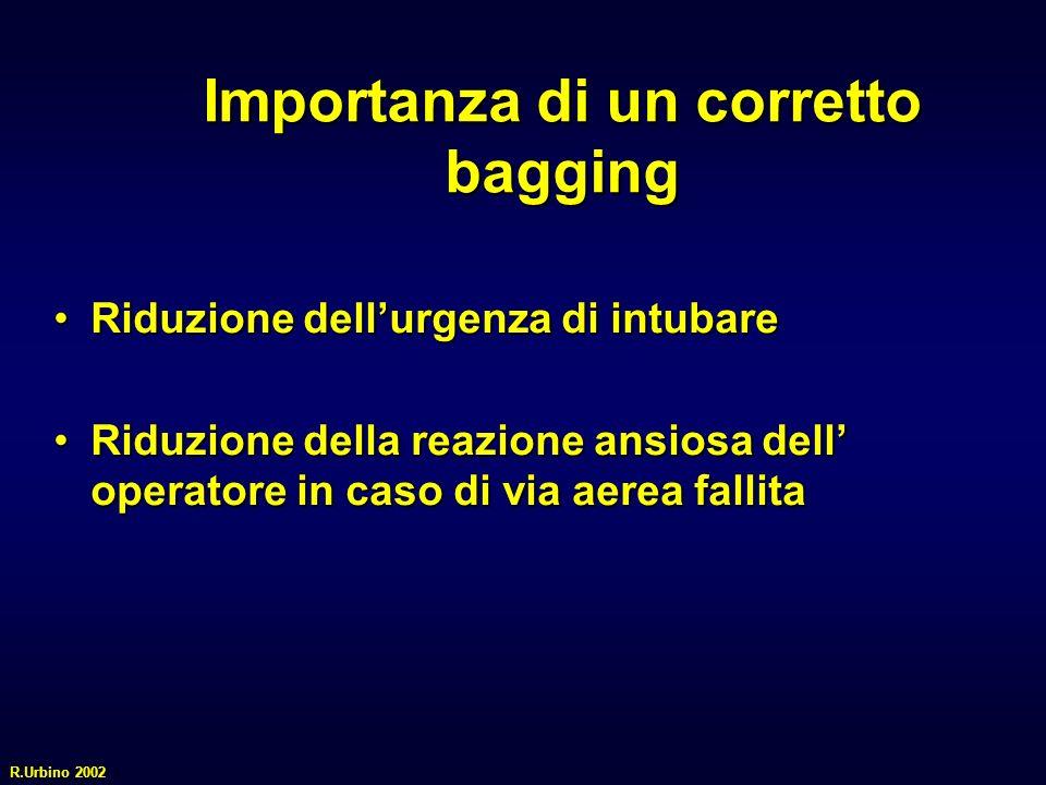 Importanza di un corretto bagging Riduzione dellurgenza di intubareRiduzione dellurgenza di intubare Riduzione della reazione ansiosa dell operatore i