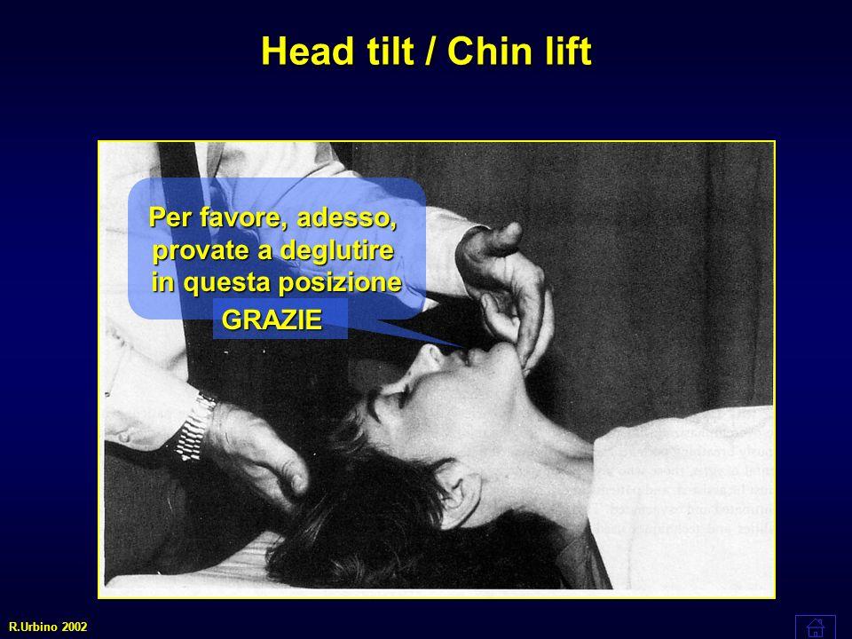 Head tilt / Chin lift Per favore, adesso, provate a deglutire in questa posizione GRAZIE R.Urbino 2002