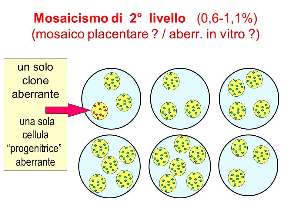 Mosaicismo di 2° livello (0,6-1,1%) (mosaico placentare ? / aberr. in vitro ?) un solo clone aberrante una sola cellula progenitrice aberrante