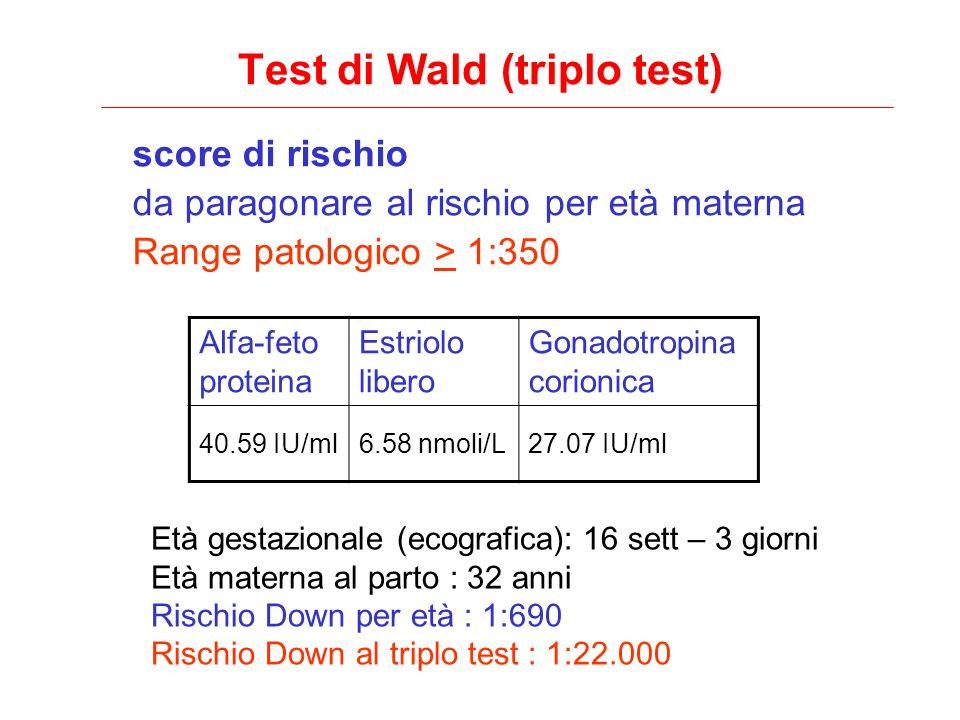 Test di Wald (triplo test) score di rischio da paragonare al rischio per età materna Range patologico > 1:350 Alfa-feto proteina Estriolo libero Gonad