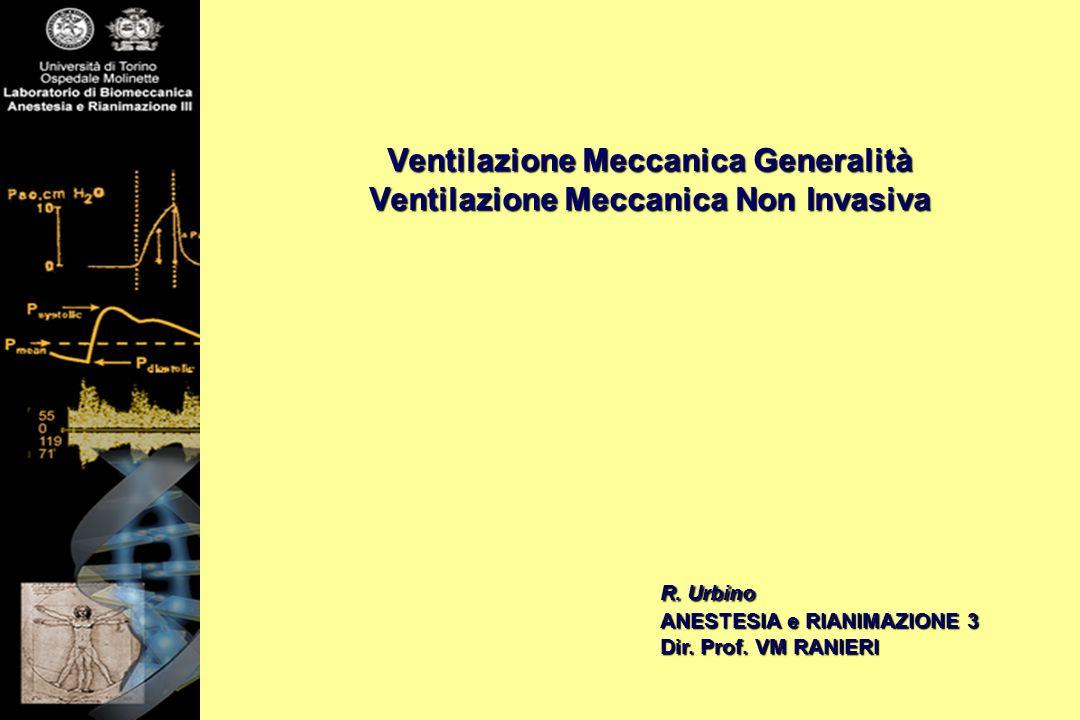 Ventilazione Meccanica Generalità Ventilazione Meccanica Non Invasiva R. Urbino ANESTESIA e RIANIMAZIONE 3 Dir. Prof. VM RANIERI