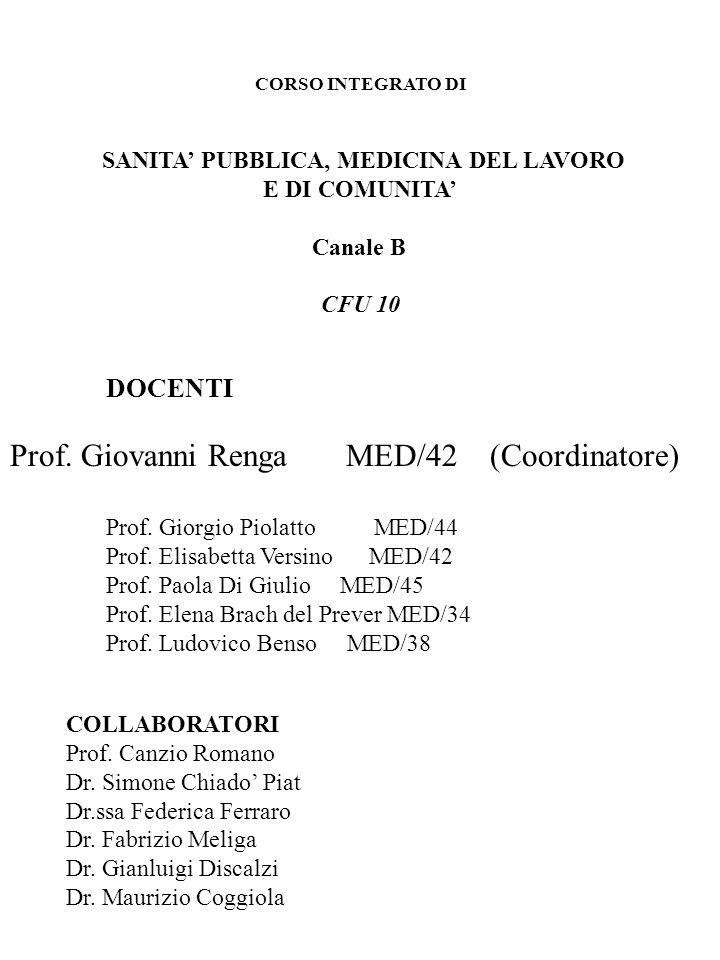 CORSO INTEGRATO DI SANITA PUBBLICA, MEDICINA DEL LAVORO E DI COMUNITA Canale B CFU 10 DOCENTI Prof. Giovanni Renga MED/42(Coordinatore) Prof. Giorgio