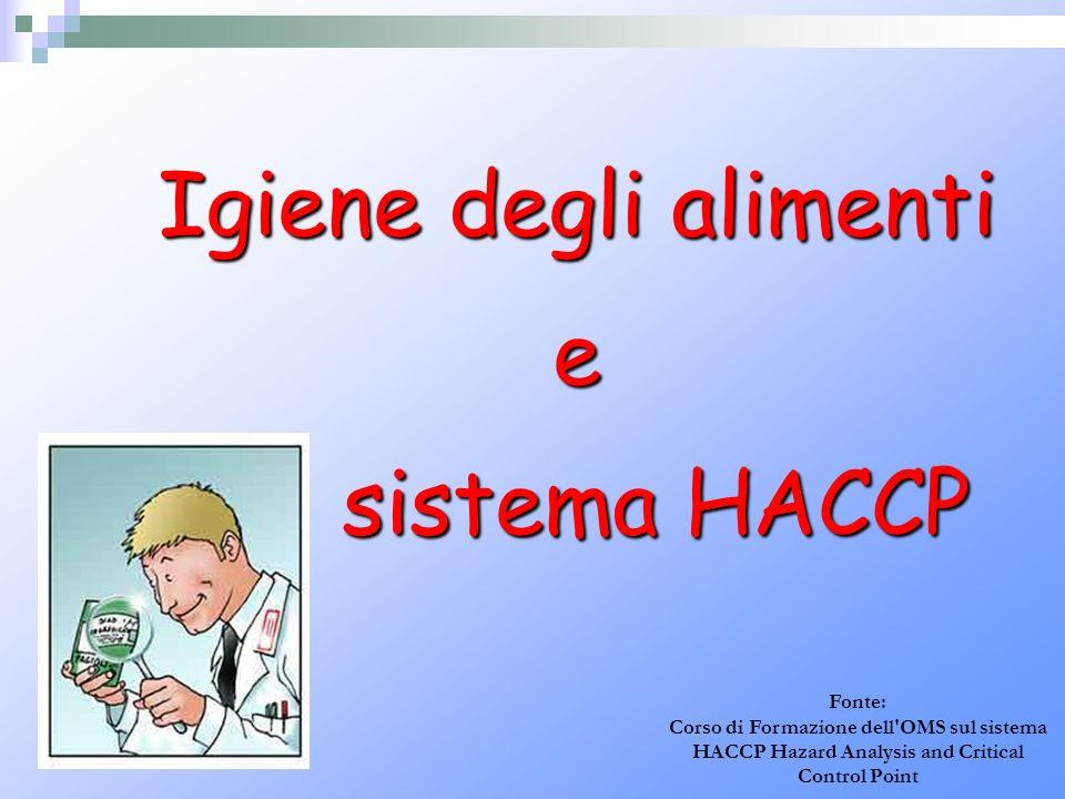 Igiene degli alimenti e sistema HACCP sistema HACCP Fonte: Corso di Formazione dell'OMS sul sistema HACCP Hazard Analysis and Critical Control Point