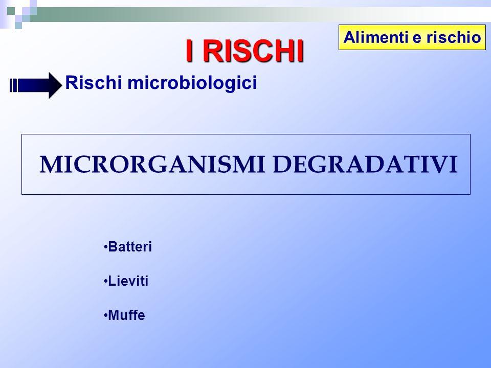 Alimenti e rischio I RISCHI Rischi microbiologici MICRORGANISMI DEGRADATIVI Batteri Lieviti Muffe