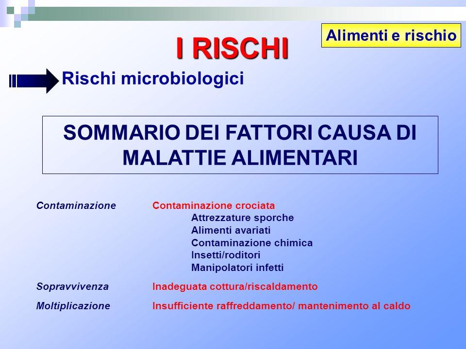SOMMARIO DEI FATTORI CAUSA DI MALATTIE ALIMENTARI ContaminazioneContaminazione crociata Attrezzature sporche Alimenti avariati Contaminazione chimica