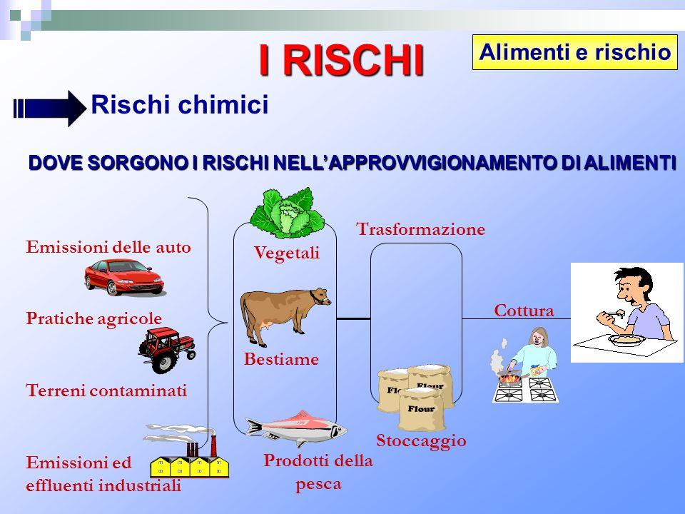 Alimenti e rischio I RISCHI Rischi chimici DOVE SORGONO I RISCHI NELLAPPROVVIGIONAMENTO DI ALIMENTI Emissioni delle auto Pratiche agricole Terreni con