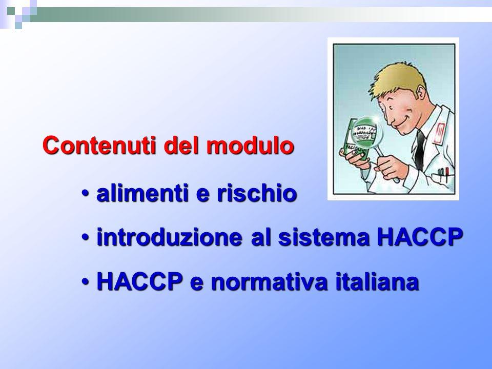 Contenuti del modulo alimenti e rischio alimenti e rischio introduzione al sistema HACCP introduzione al sistema HACCP HACCP e normativa italiana HACC