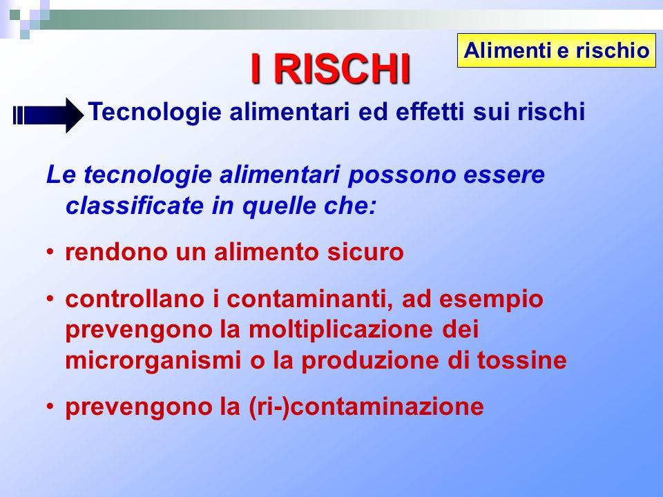 Alimenti e rischio I RISCHI Tecnologie alimentari ed effetti sui rischi Le tecnologie alimentari possono essere classificate in quelle che: rendono un
