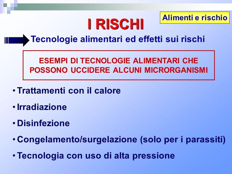 Alimenti e rischio I RISCHI Tecnologie alimentari ed effetti sui rischi Trattamenti con il calore Irradiazione Disinfezione Congelamento/surgelazione