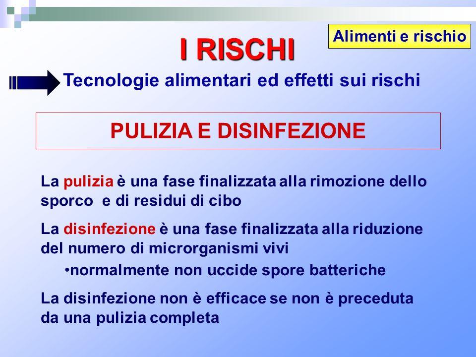 Alimenti e rischio I RISCHI Tecnologie alimentari ed effetti sui rischi PULIZIA E DISINFEZIONE La pulizia è una fase finalizzata alla rimozione dello
