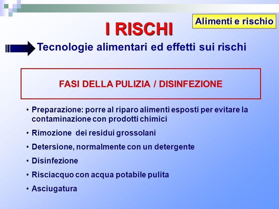 Alimenti e rischio I RISCHI Tecnologie alimentari ed effetti sui rischi FASI DELLA PULIZIA / DISINFEZIONE Preparazione: porre al riparo alimenti espos