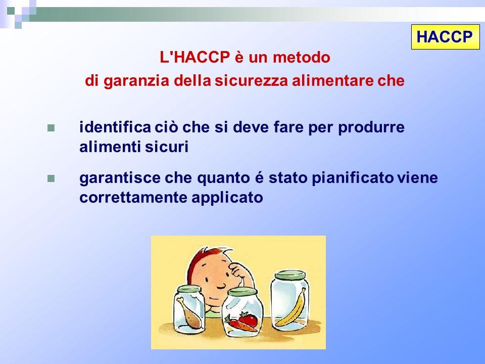 HACCP L'HACCP è un metodo di garanzia della sicurezza alimentare che identifica ciò che si deve fare per produrre alimenti sicuri garantisce che quant