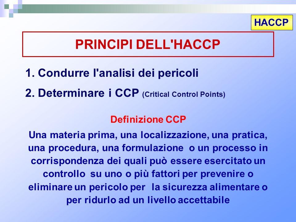 HACCP PRINCIPI DELL'HACCP 1. Condurre l'analisi dei pericoli 2. Determinare i CCP (Critical Control Points) Definizione CCP Una materia prima, una loc