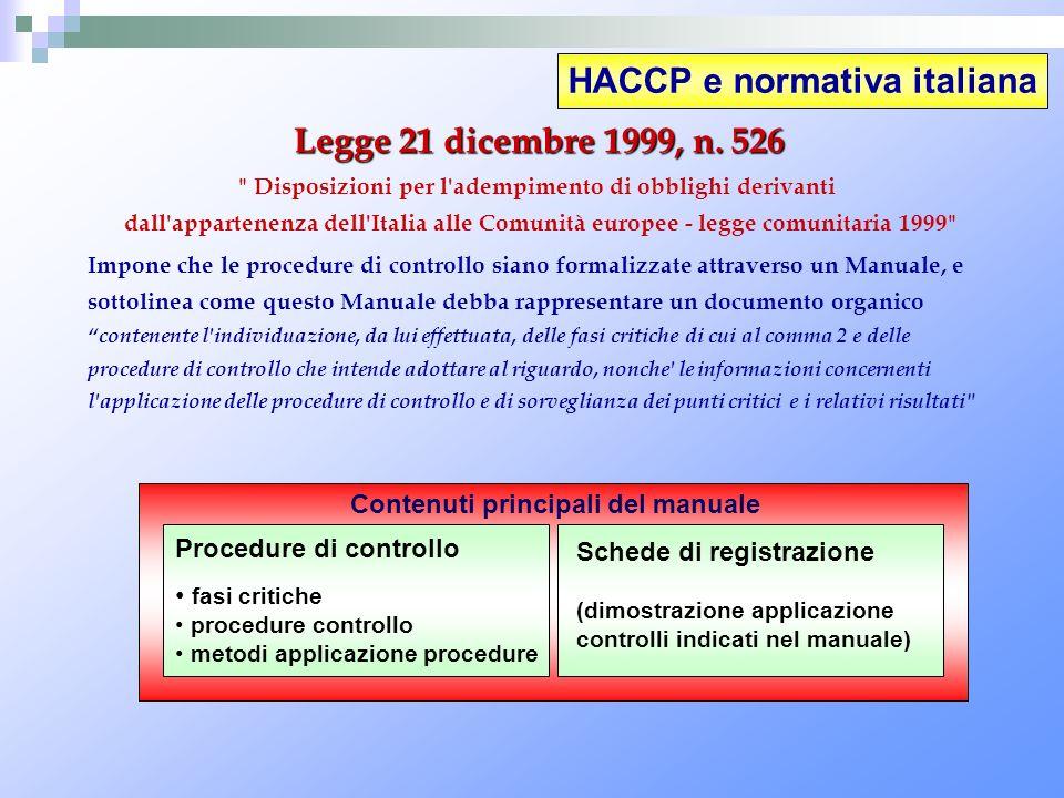 HACCP e normativa italiana Legge 21 dicembre 1999, n. 526