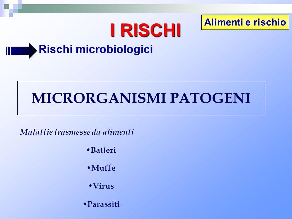 MICRORGANISMI PATOGENI Malattie trasmesse da alimenti Batteri Muffe Virus Parassiti Alimenti e rischio I RISCHI Rischi microbiologici