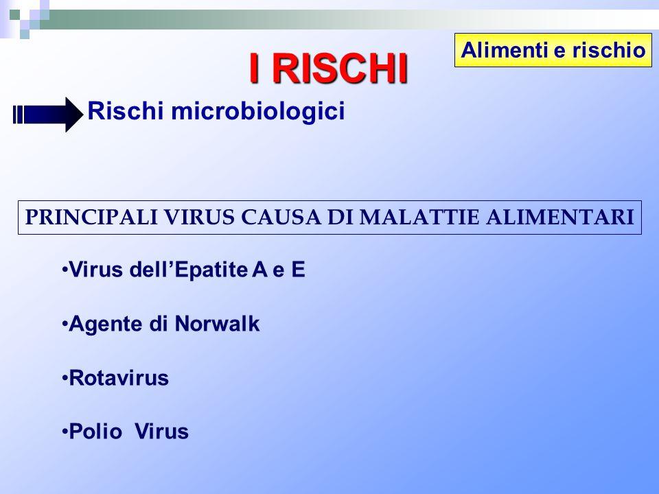 Alimenti e rischio I RISCHI Rischi microbiologici PRINCIPALI VIRUS CAUSA DI MALATTIE ALIMENTARI Virus dellEpatite A e E Agente di Norwalk Rotavirus Po