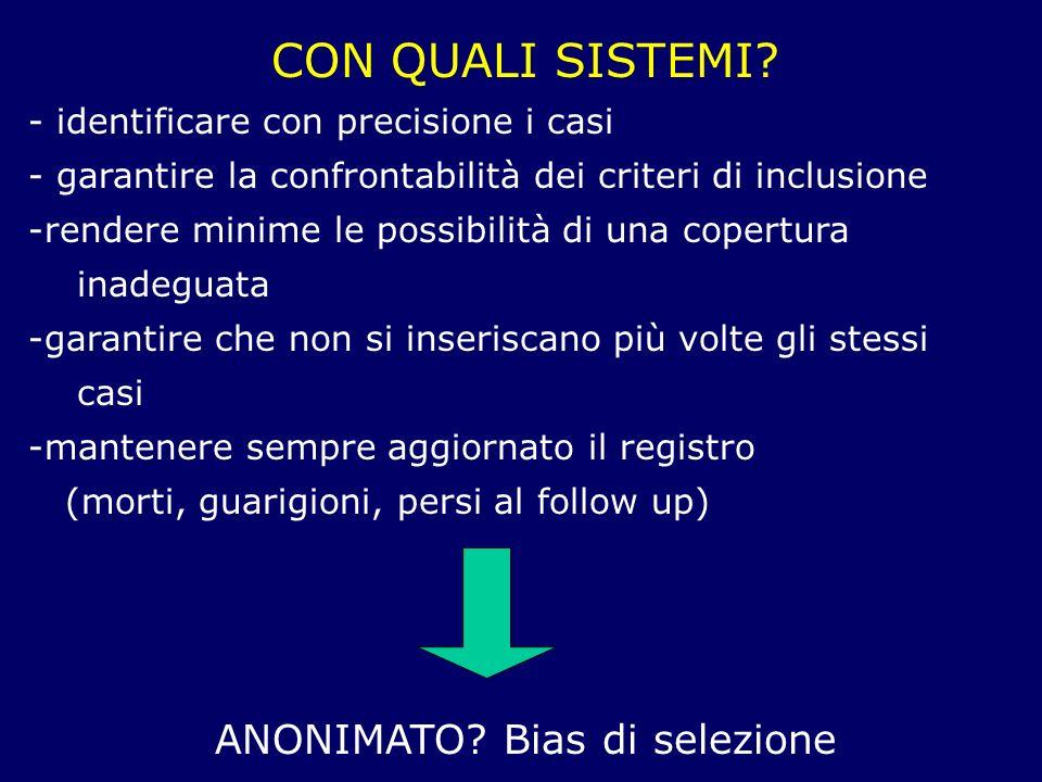 CON QUALI SISTEMI? - identificare con precisione i casi - garantire la confrontabilità dei criteri di inclusione -rendere minime le possibilità di una