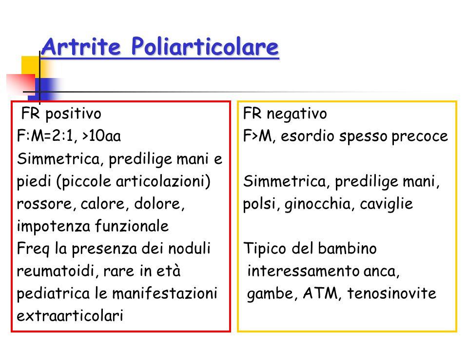 Artrite Poliarticolare FR positivo F:M=2:1, >10aa Simmetrica, predilige mani e piedi (piccole articolazioni) rossore, calore, dolore, impotenza funzio