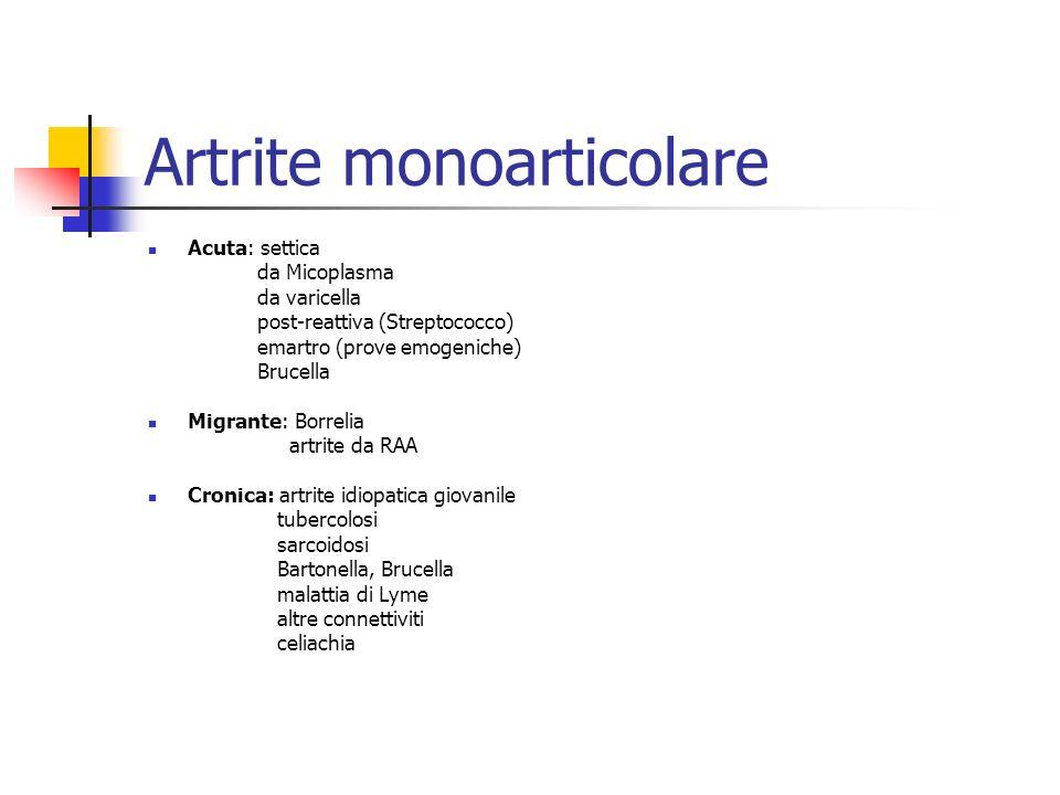 Artrite monoarticolare Acuta: settica da Micoplasma da varicella post-reattiva (Streptococco) emartro (prove emogeniche) Brucella Migrante: Borrelia a