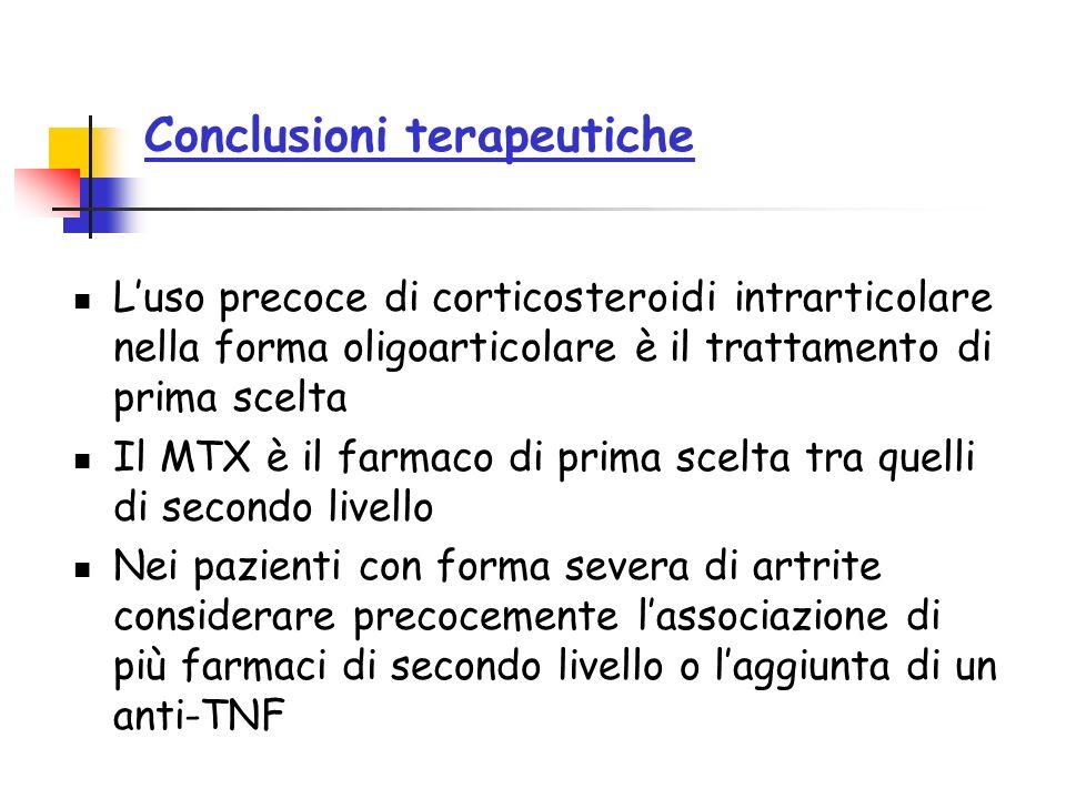 Conclusioni terapeutiche Luso precoce di corticosteroidi intrarticolare nella forma oligoarticolare è il trattamento di prima scelta Il MTX è il farma