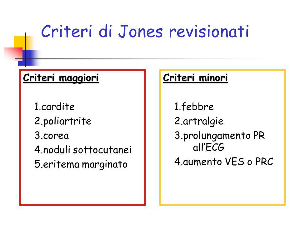Criteri di Jones revisionati Criteri maggiori 1.cardite 2.poliartrite 3.corea 4.noduli sottocutanei 5.eritema marginato Criteri minori 1.febbre 2.artr