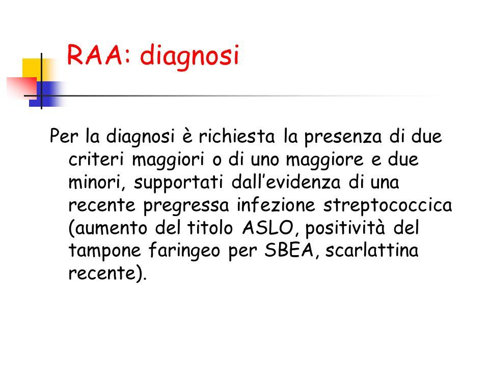 RAA: diagnosi Per la diagnosi è richiesta la presenza di due criteri maggiori o di uno maggiore e due minori, supportati dallevidenza di una recente p