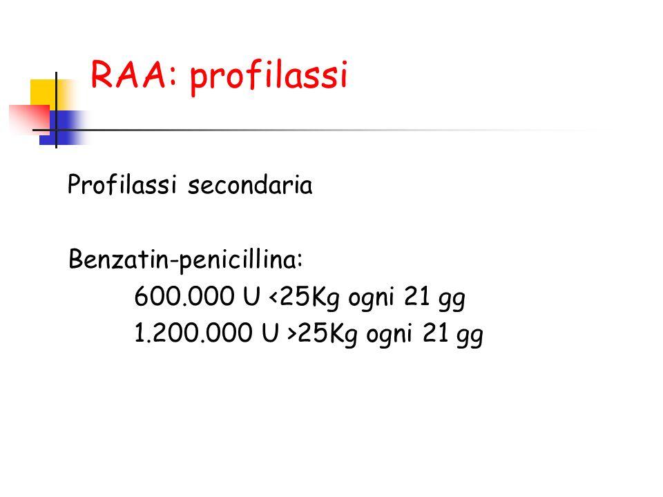RAA: profilassi Profilassi secondaria Benzatin-penicillina: 600.000 U <25Kg ogni 21 gg 1.200.000 U >25Kg ogni 21 gg