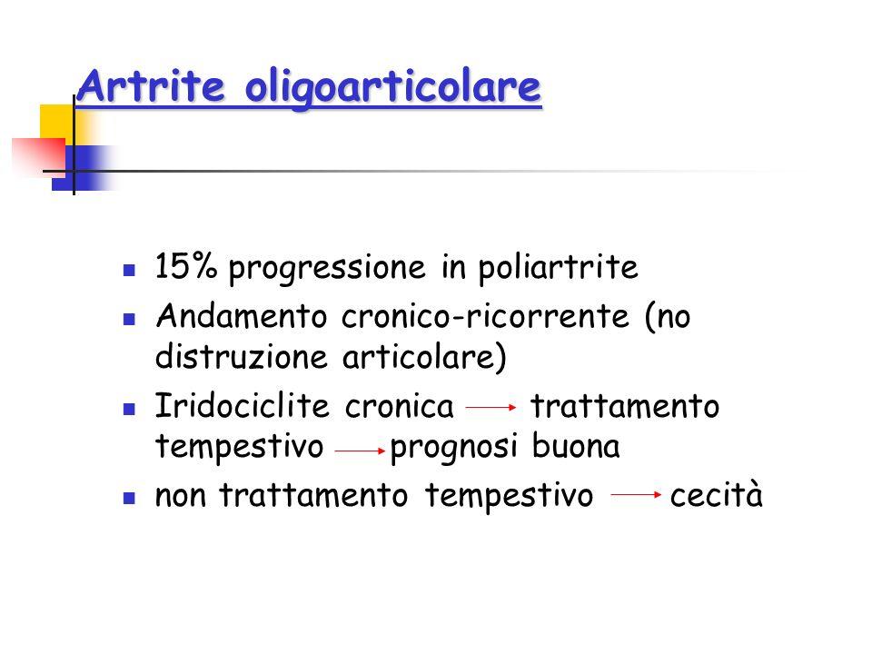 Artrite oligoarticolare 15% progressione in poliartrite Andamento cronico-ricorrente (no distruzione articolare) Iridociclite cronica trattamento temp