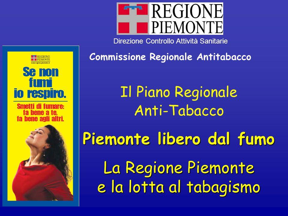 Il Piano Regionale Anti-Tabacco Piemonte libero dal fumo La Regione Piemonte e la lotta al tabagismo Direzione Controllo Attività Sanitarie Commission