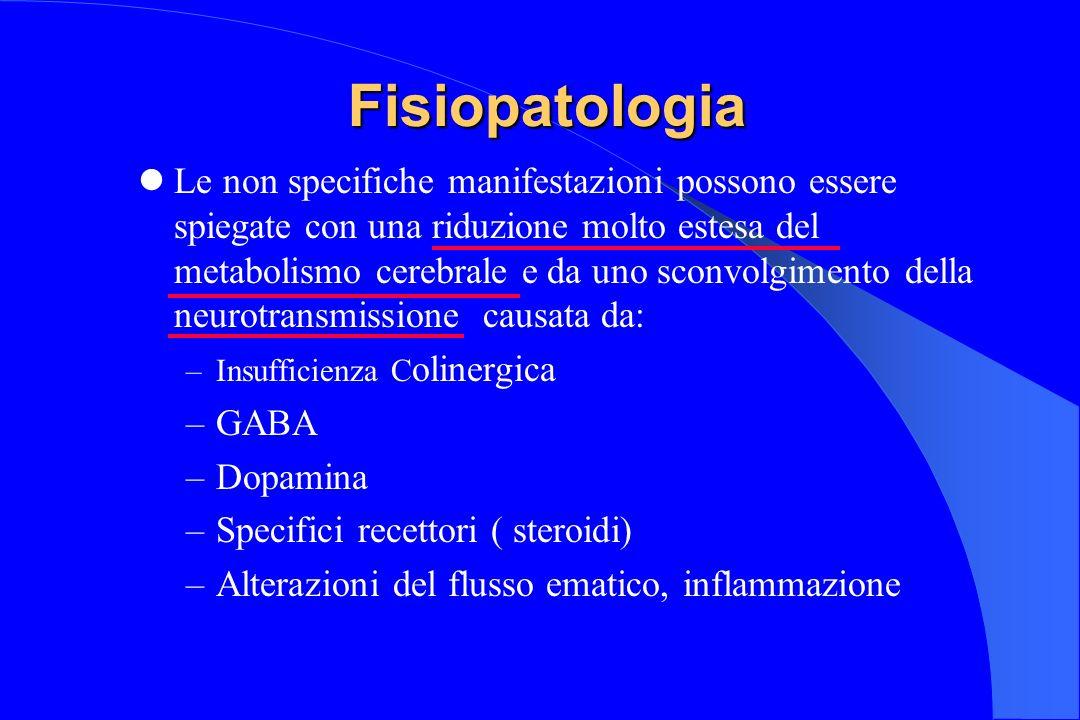 Fisiopatologia Fisiopatologia Le non specifiche manifestazioni possono essere spiegate con una riduzione molto estesa del metabolismo cerebrale e da u