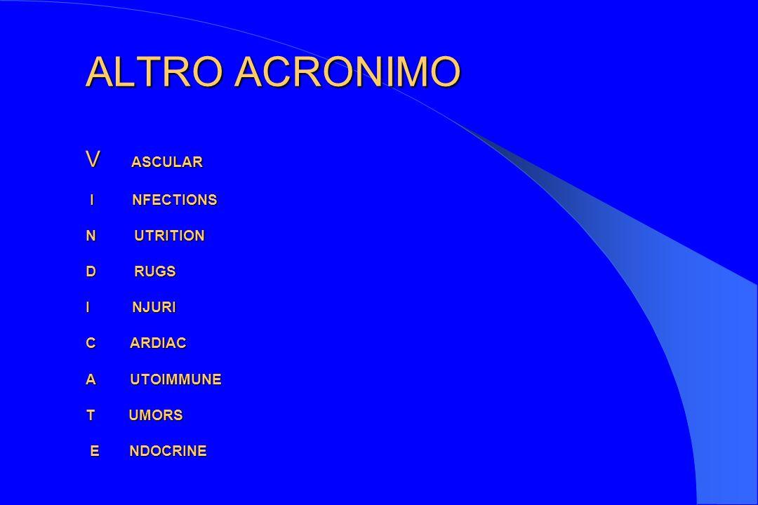 ALTRO ACRONIMO V ASCULAR I NFECTIONS N UTRITION D RUGS I NJURI C ARDIAC A UTOIMMUNE T UMORS E NDOCRINE