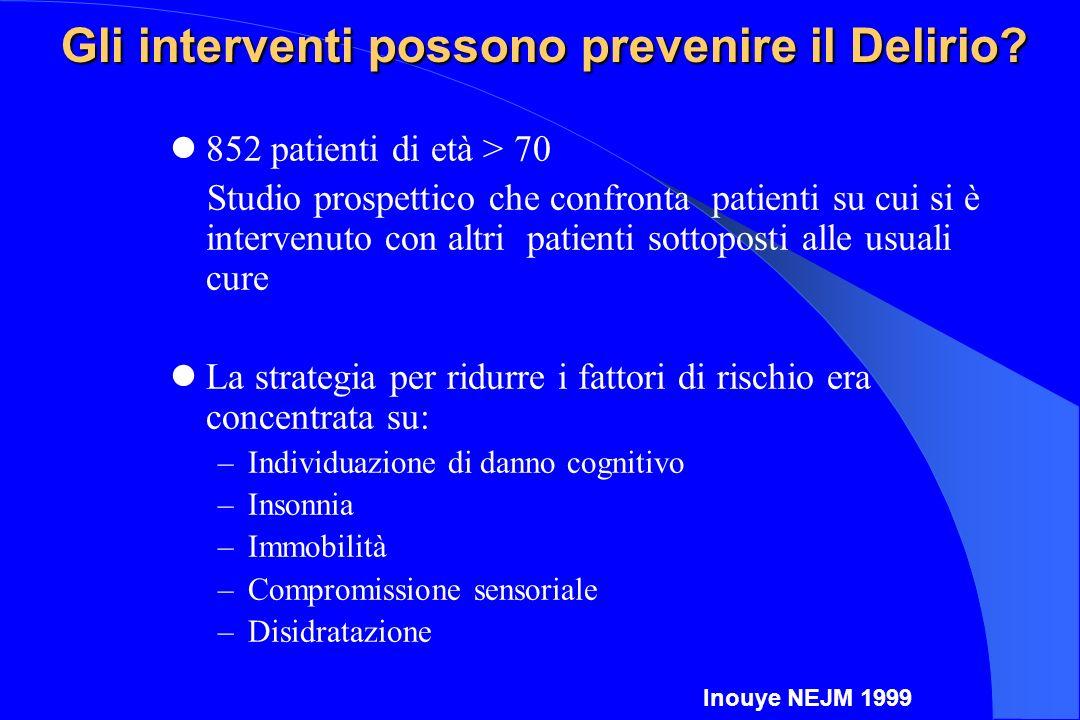 Gli interventi possono prevenire il Delirio? 852 patienti di età > 70 Studio prospettico che confronta patienti su cui si è intervenuto con altri pati