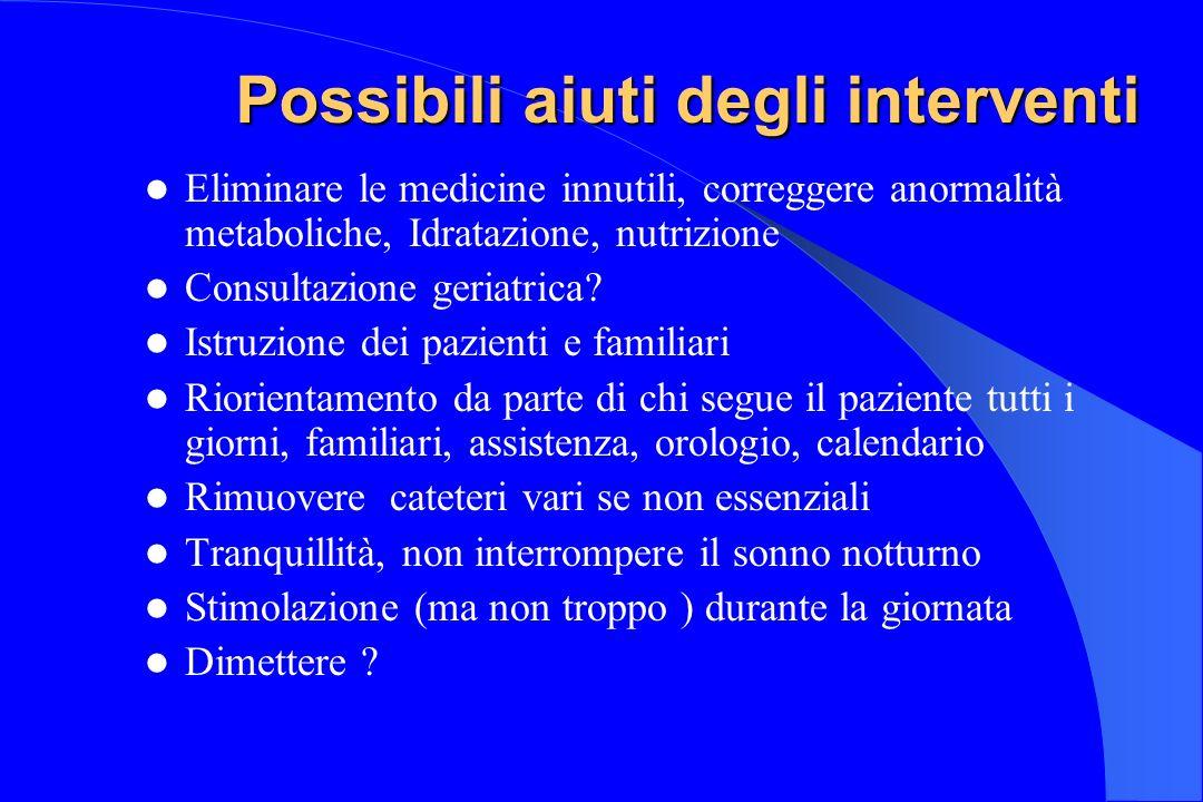 Possibili aiuti degli interventi Eliminare le medicine innutili, correggere anormalità metaboliche, Idratazione, nutrizione Consultazione geriatrica?