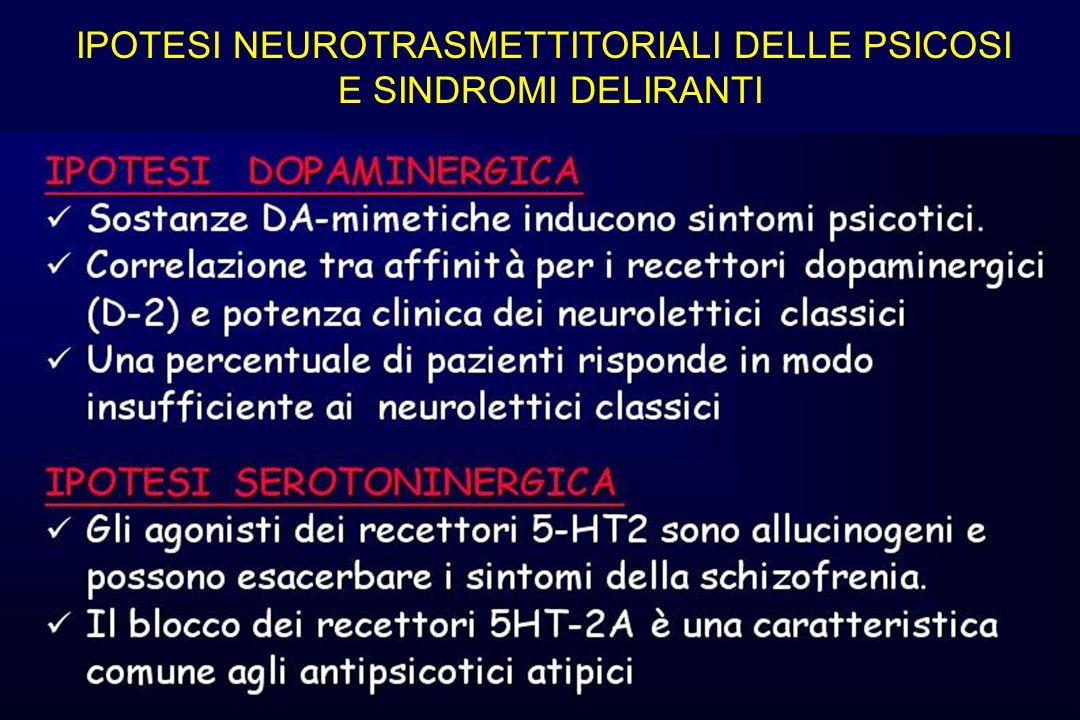 IPOTESI NEUROTRASMETTITORIALI DELLE PSICOSI E SINDROMI DELIRANTI