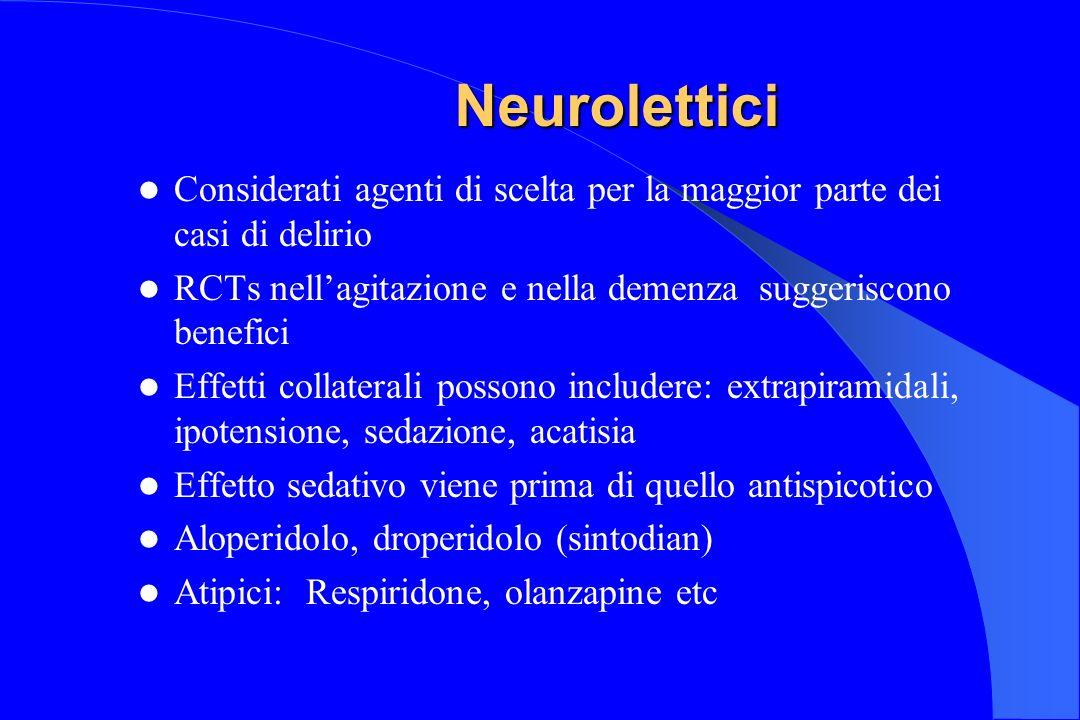 Neurolettici Considerati agenti di scelta per la maggior parte dei casi di delirio RCTs nellagitazione e nella demenza suggeriscono benefici Effetti c