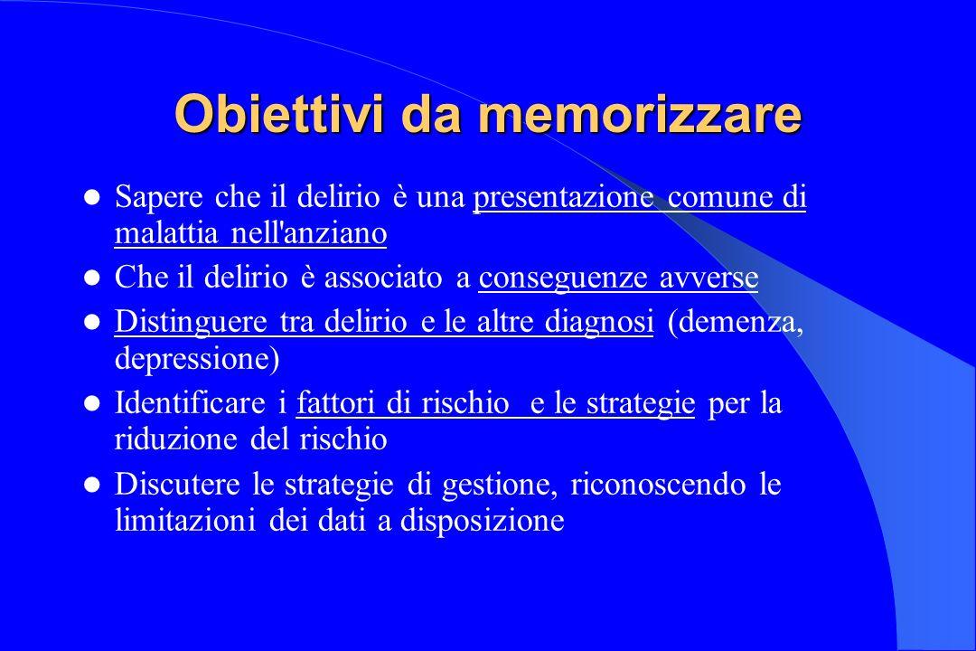Obiettivi da memorizzare Sapere che il delirio è una presentazione comune di malattia nell'anziano Che il delirio è associato a conseguenze avverse Di