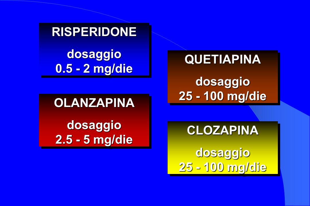 RISPERIDONEdosaggio 0.5 - 2 mg/die RISPERIDONEdosaggio OLANZAPINAdosaggio 2.5 - 5 mg/die OLANZAPINAdosaggio QUETIAPINAdosaggio 25 - 100 mg/die QUETIAP