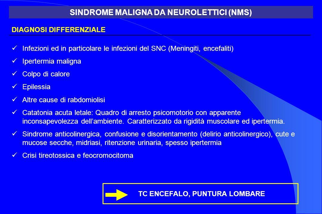 DIAGNOSI DIFFERENZIALE Infezioni ed in particolare le infezioni del SNC (Meningiti, encefaliti) Ipertermia maligna Colpo di calore Epilessia Altre cau