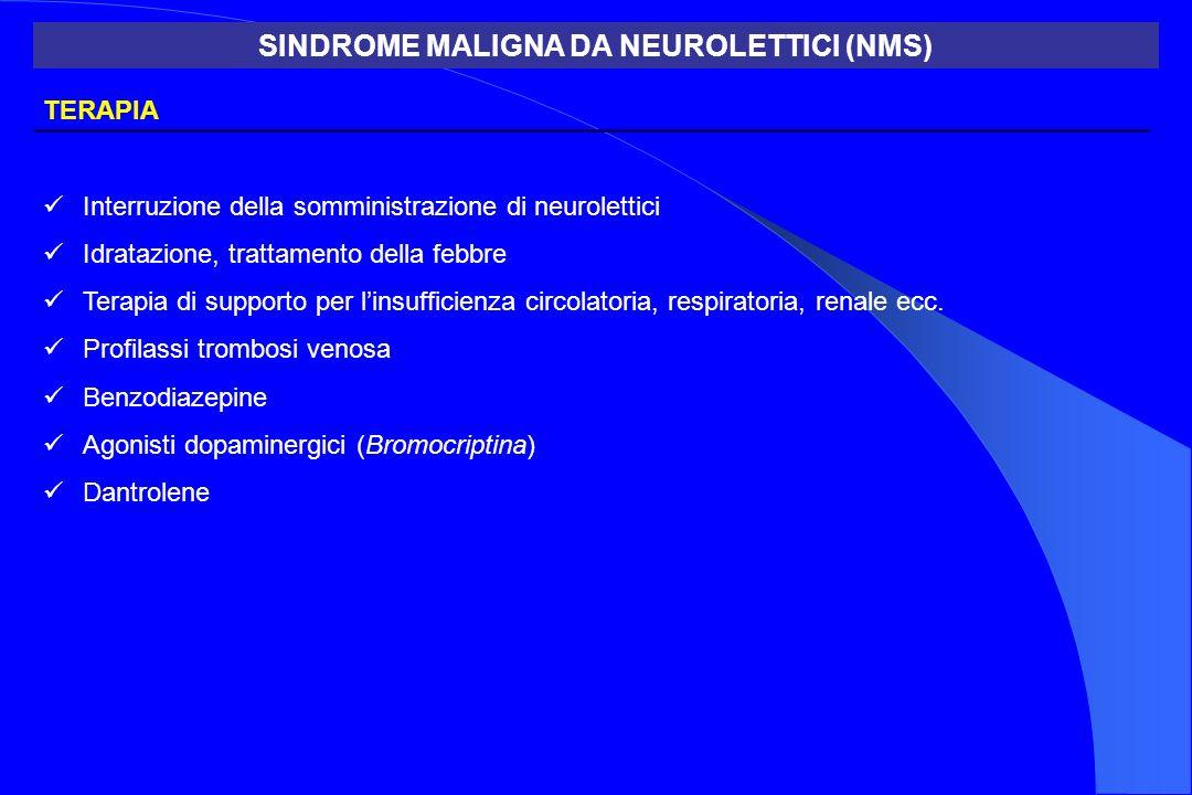 TERAPIA Interruzione della somministrazione di neurolettici Idratazione, trattamento della febbre Terapia di supporto per linsufficienza circolatoria,