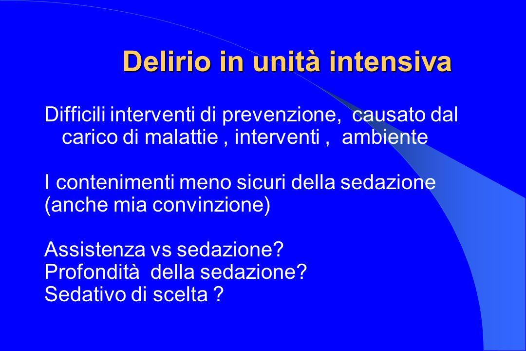 Delirio in unità intensiva Difficili interventi di prevenzione, causato dal carico di malattie, interventi, ambiente I contenimenti meno sicuri della