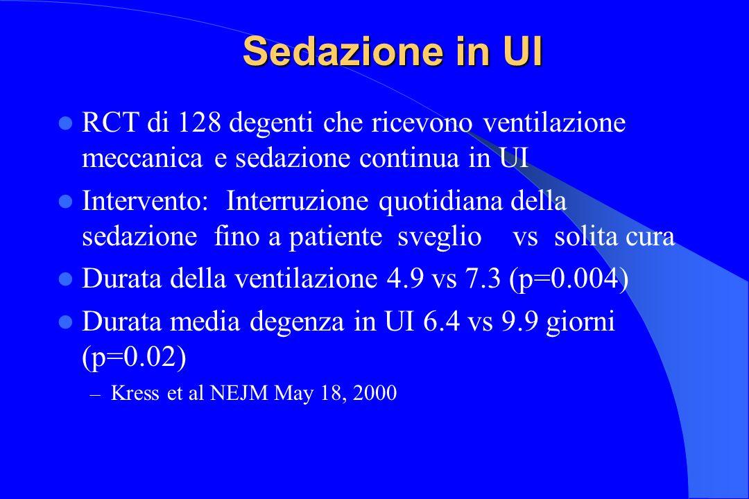 Sedazione in UI RCT di 128 degenti che ricevono ventilazione meccanica e sedazione continua in UI Intervento: Interruzione quotidiana della sedazione