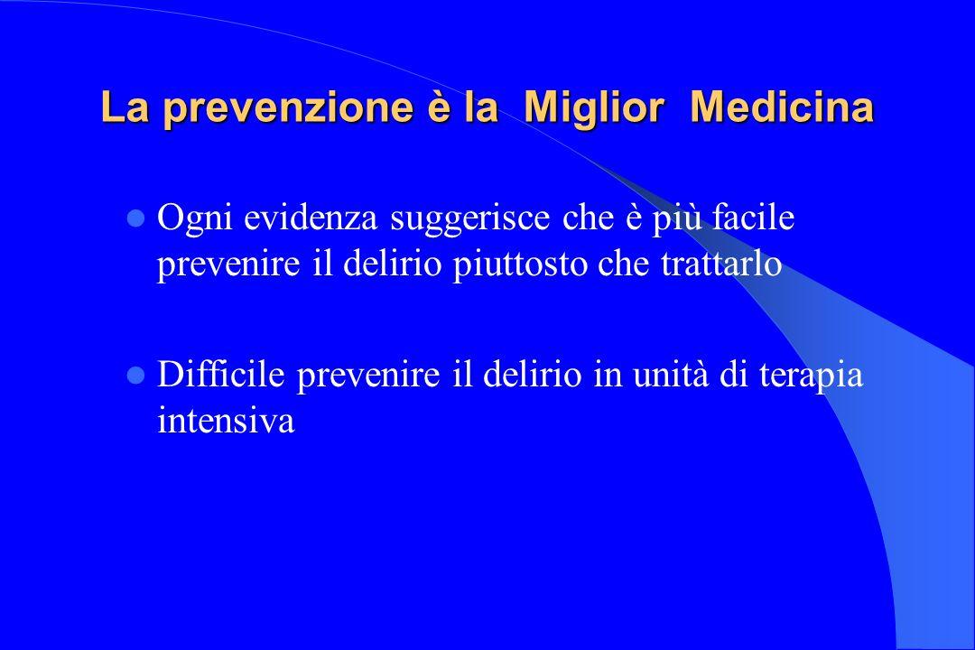 La prevenzione è la Miglior Medicina Ogni evidenza suggerisce che è più facile prevenire il delirio piuttosto che trattarlo Difficile prevenire il del