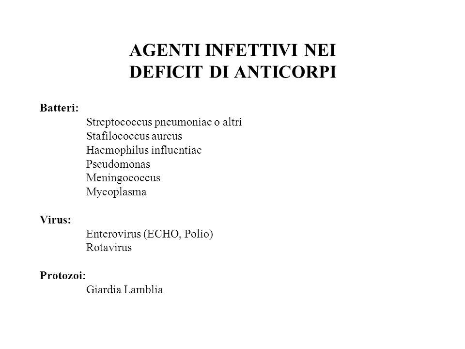 AGENTI INFETTIVI NEI DEFICIT DI ANTICORPI Batteri: Streptococcus pneumoniae o altri Stafilococcus aureus Haemophilus influentiae Pseudomonas Meningoco