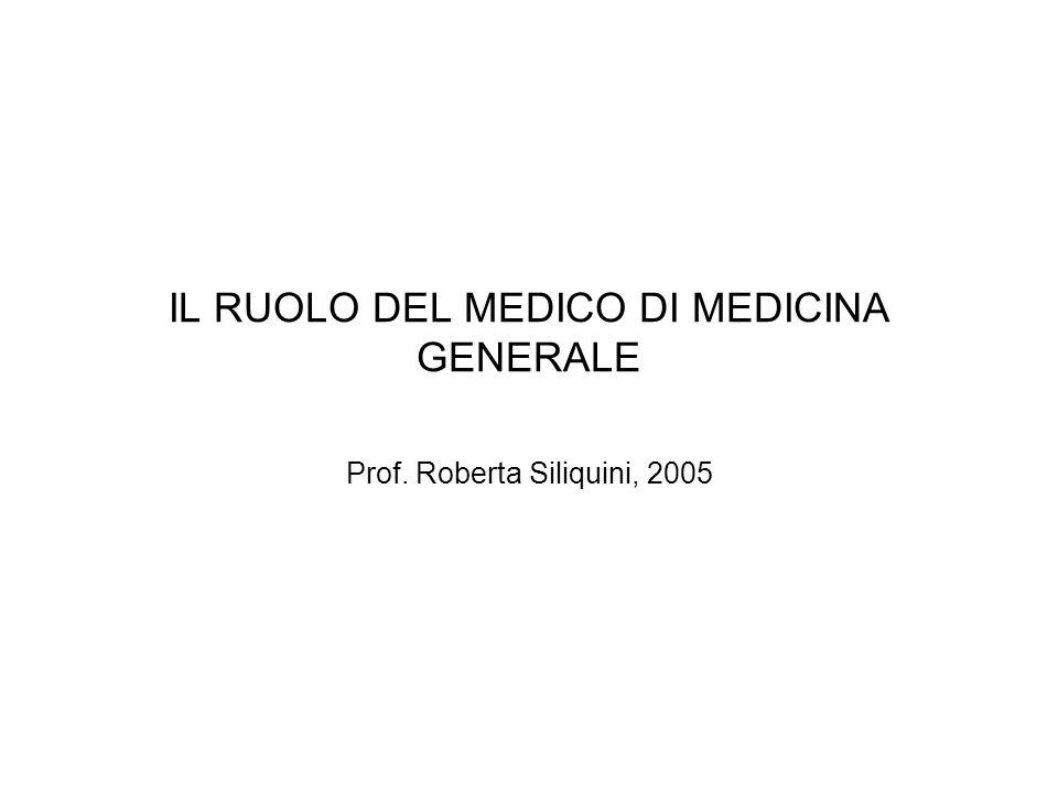 IL RUOLO DEL MEDICO DI MEDICINA GENERALE Prof. Roberta Siliquini, 2005