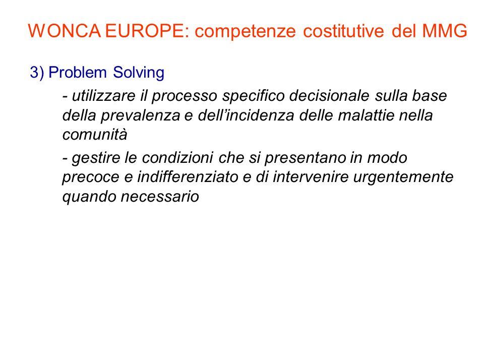 3) Problem Solving - utilizzare il processo specifico decisionale sulla base della prevalenza e dellincidenza delle malattie nella comunità - gestire