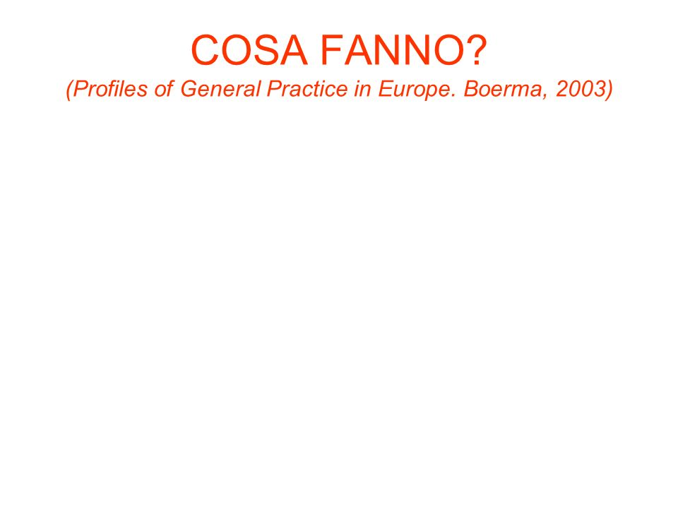 COSA FANNO? (Profiles of General Practice in Europe. Boerma, 2003)