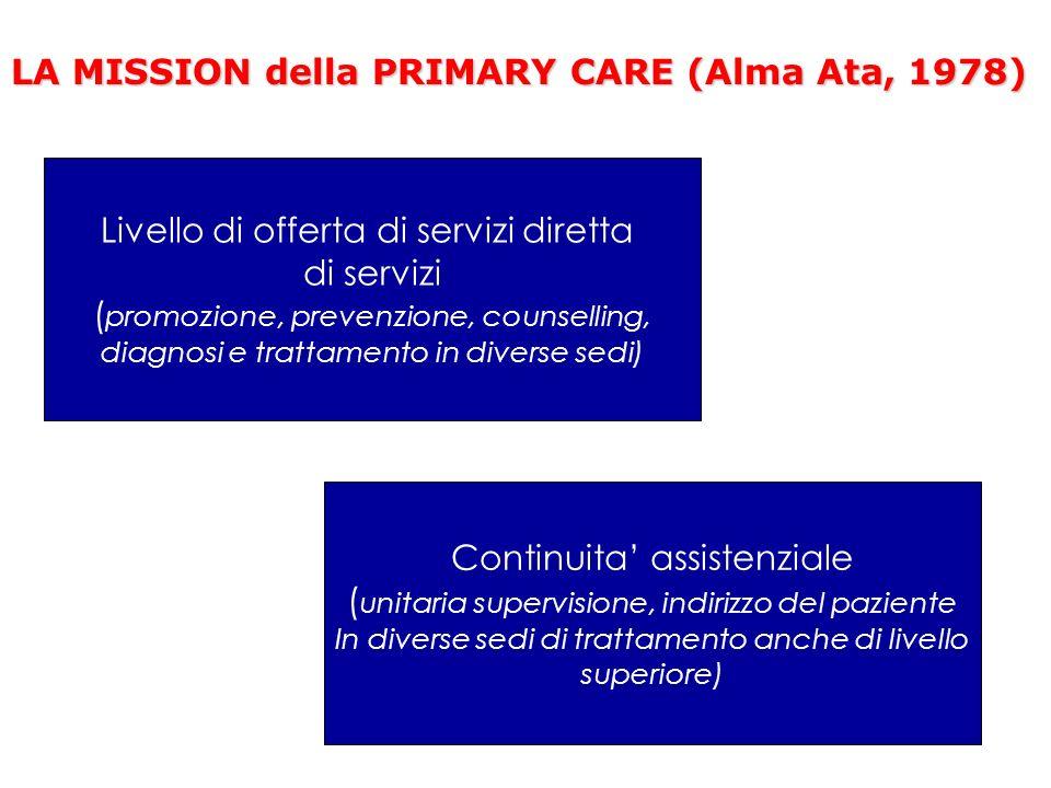 LA MISSION della PRIMARY CARE (Alma Ata, 1978) Livello di offerta di servizi diretta di servizi ( promozione, prevenzione, counselling, diagnosi e tra