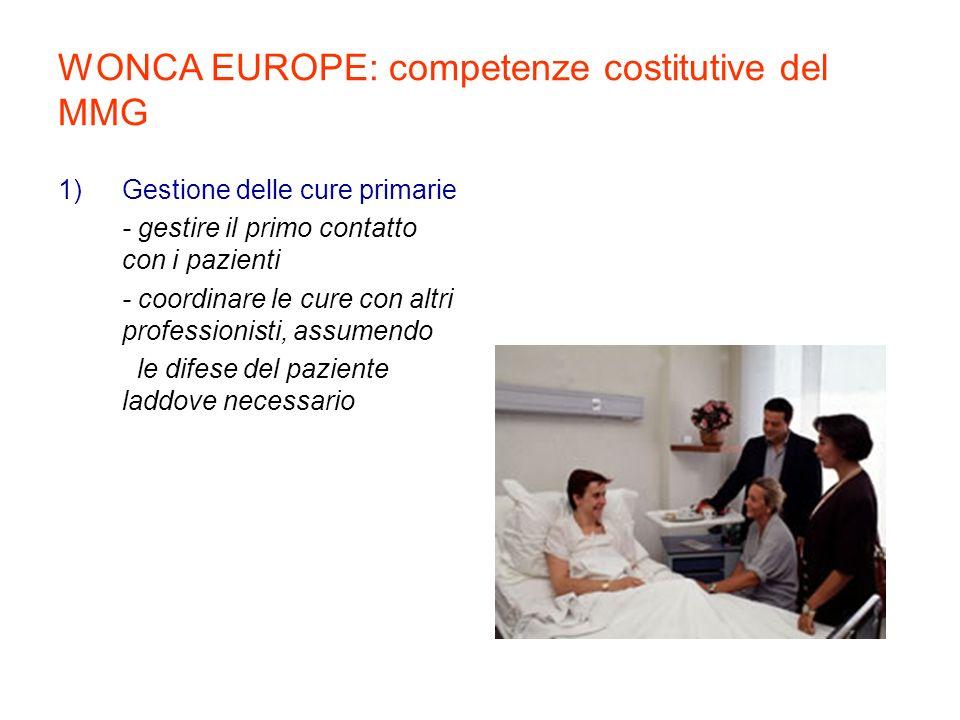 2) Cure centrate sul paziente - adottare approccio centrato sulla persona - ottenere unefficace relazione medico-paziente - provvedere una continuità longitudinale delle cure WONCA EUROPE: competenze costitutive del MMG