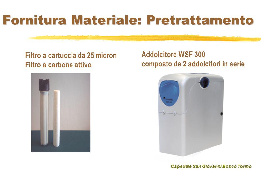 Fornitura Materiale: Pretrattamento Filtro a cartuccia da 25 micron Filtro a carbone attivo Addolcitore WSF 300 composto da 2 addolcitori in serie Osp