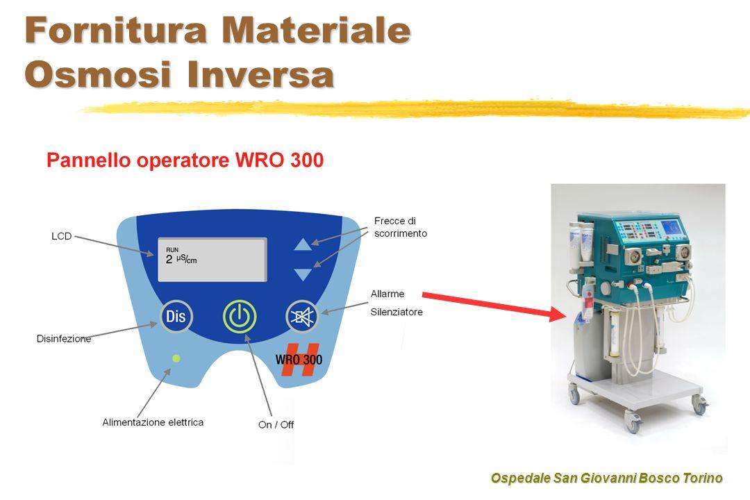 Fornitura Materiale Osmosi Inversa Ospedale San Giovanni Bosco Torino